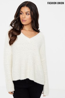 Fashion Union Ribbon Yarn V neck Jumper