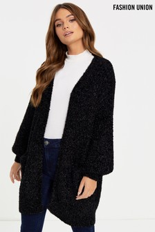 Fashion Union Ribbon Tinsel Yarn Longline Cardigan