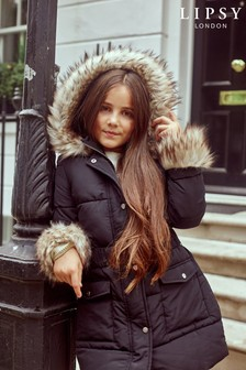 Lipsy Girl Faux Fur Cuff Padded Coat