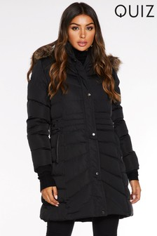 Quiz Longline Faux Fur Hood Padded Jacket
