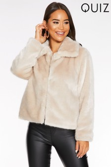 Quiz Short Faux Fur Collar Jacket