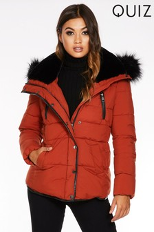 Quiz Padded Faux Fur Trim Jacket