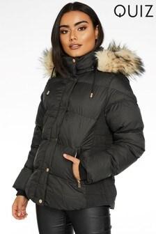 Quiz Faux Fur Trim Padded Jacket