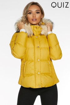 Quiz Faux Fur Trim Padded Jacket