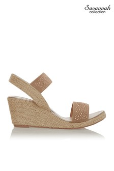 Savannah Diamanté Low Espadrille Wedge