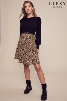 Lipsy Animal 2 in 1 Knitted Fit and Flare Dress