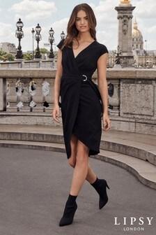 Lipsy D Ring Wrap Pleated Midi Dress