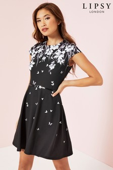 Lipsy Printed Cap Sleeve Skater Dress