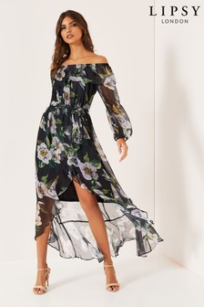 Lipsy Floral Bardot Maxi Dress