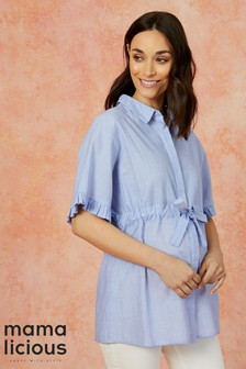 27ea6652133be Mamalicious Maternity Woven Nursing Shirt