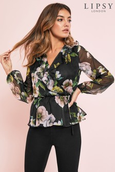Lipsy Floral Print Ruffle Top