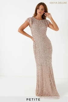 Maya Petite All Over Sequin Maxi Dress With Ruffle Sleeve