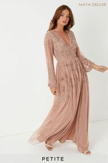 Maya Petite Wrap Maxi Dress With Contrast Embellishment