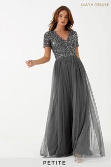 Maya Petite Short Sleeve Sequin Maxi Dress