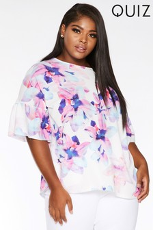 Quiz Curve Floral Ruffle Boxy Top