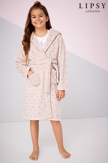 Lipsy Girl Fluffy Foil Pattern Robe