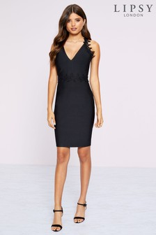 Lipsy Lace Trim Bandage Dress