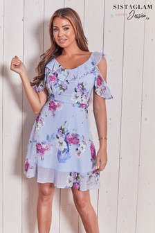 Sistaglam Loves Jessica Floral Print Cold Shoulder Dress