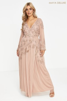 Maya Curve Wrap Maxi Dress With Contrast Embellishment