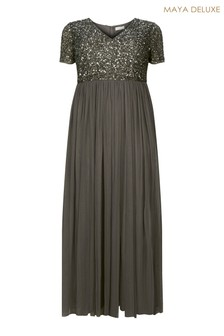 Maya Curve V neck Short Sleeve Sequin Maxi Dress