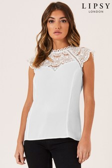 Lipsy Lace Trim Top