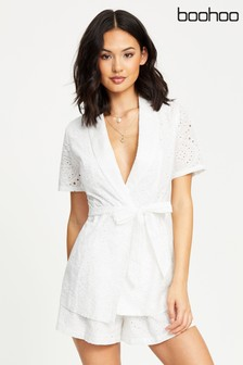 Boohoo Broderie Short Sleeve Wrap Jacket