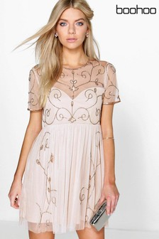 Boohoo Embellished Skater Dress