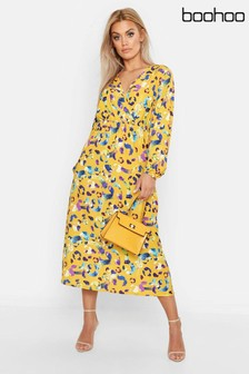 Boohoo Curve Printed Wrap Dress