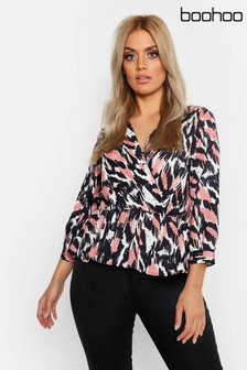 Boohoo Curve Sketch Printed Wrap Smock Top