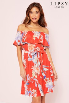 Lipsy Printed Bardot Frill Mini Dress