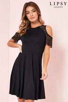 Lipsy Crochet Cold Shoulder Skater Dress