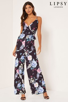 Lipsy Printed Strappy Wide Leg Jumpsuit