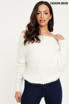 Fashion Union Fluffy Off Shoulder Jumper