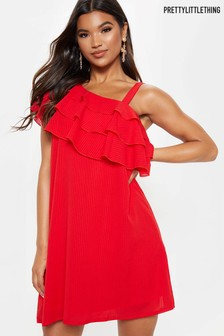 PrettyLittleThing Layered Frill Detail One Shoulder Dress