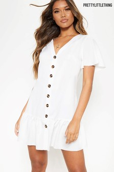 PrettyLittleThing Button Down V neck Shirt Dress