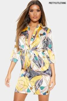 PrettyLittleThing Chain Print Tie Waist Shirt Dress
