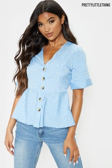 PrettyLittleThing Peplum Button Down Blouse