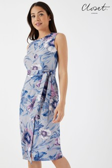 Closet Floral Tie V back Wrap Pencil Dress
