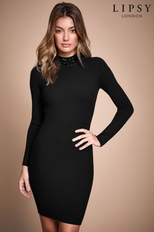 Lipsy Embellished Neck Ribbed Midi Dress