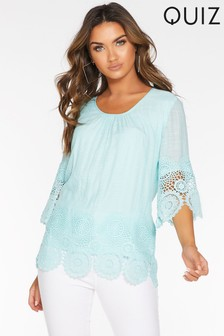 Quiz 3/4 Sleeve Crochet Hem Top
