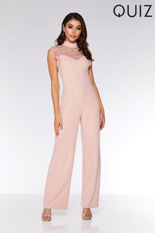 Quiz Lace Frill High Neck Wide Leg Jumpsuit