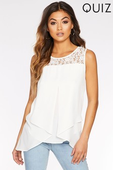 Quiz Chiffon Lace Vest Top