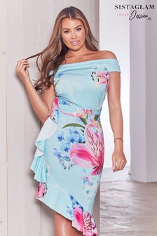 Sistaglam Loves Jessica Chiffon Floral Print Asymmetric Frill Hem Dress