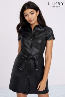 Lipsy Faux Leather Button Through Dress