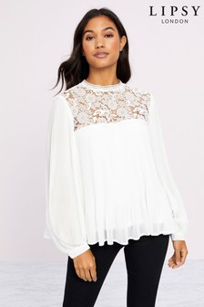 Lipsy Pleated Lace Blouse