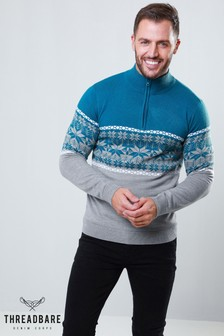 Threadbare Half Zip Christmas Jumper