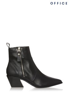 Office Arrow Leather Pointed Ankle Boot