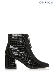 Office Abir Patent Croc Block Heel Boot