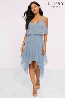 Lipsy Embellished Cold Shoulder Fit & Flare Dress
