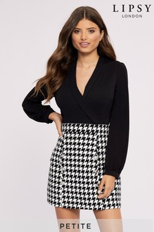 Lipsy Petite 2-in-1 Dogstooth Dress